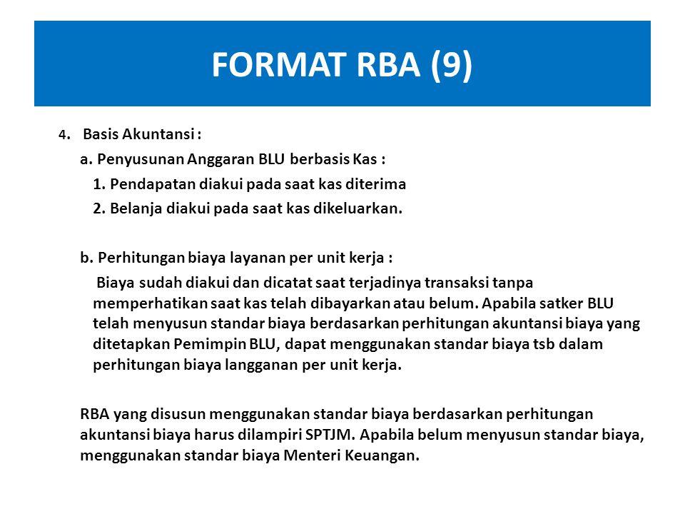 FORMAT RBA (9) a. Penyusunan Anggaran BLU berbasis Kas :