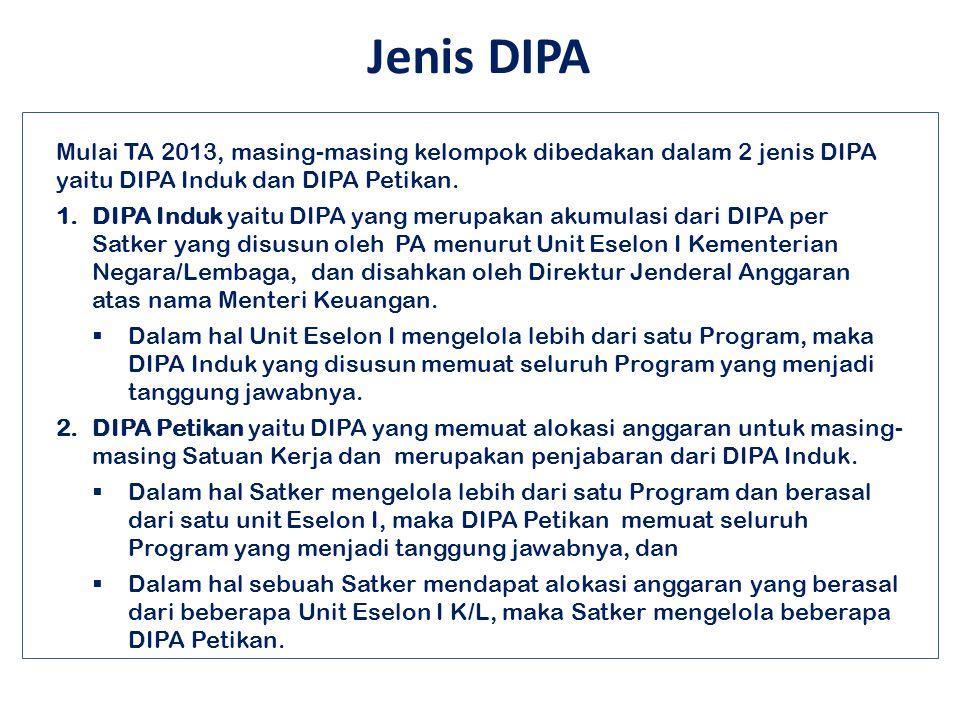 Jenis DIPA Mulai TA 2013, masing-masing kelompok dibedakan dalam 2 jenis DIPA yaitu DIPA Induk dan DIPA Petikan.
