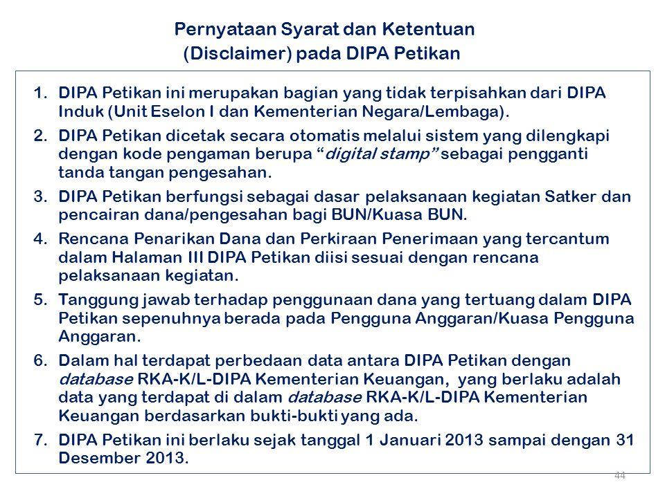Pernyataan Syarat dan Ketentuan (Disclaimer) pada DIPA Petikan