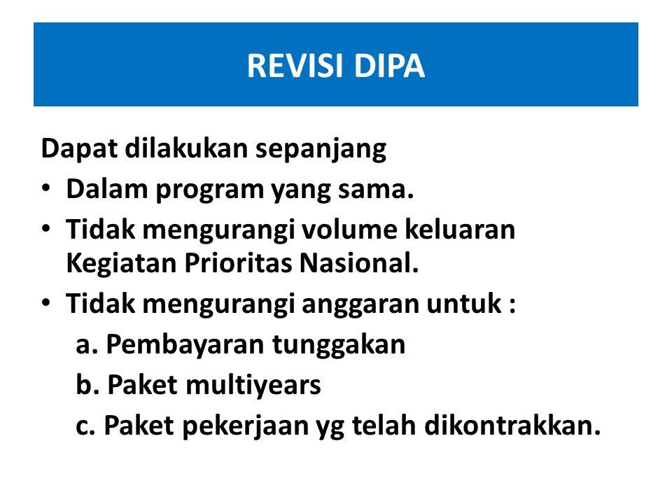 REVISI DIPA Dapat dilakukan sepanjang Dalam program yang sama.