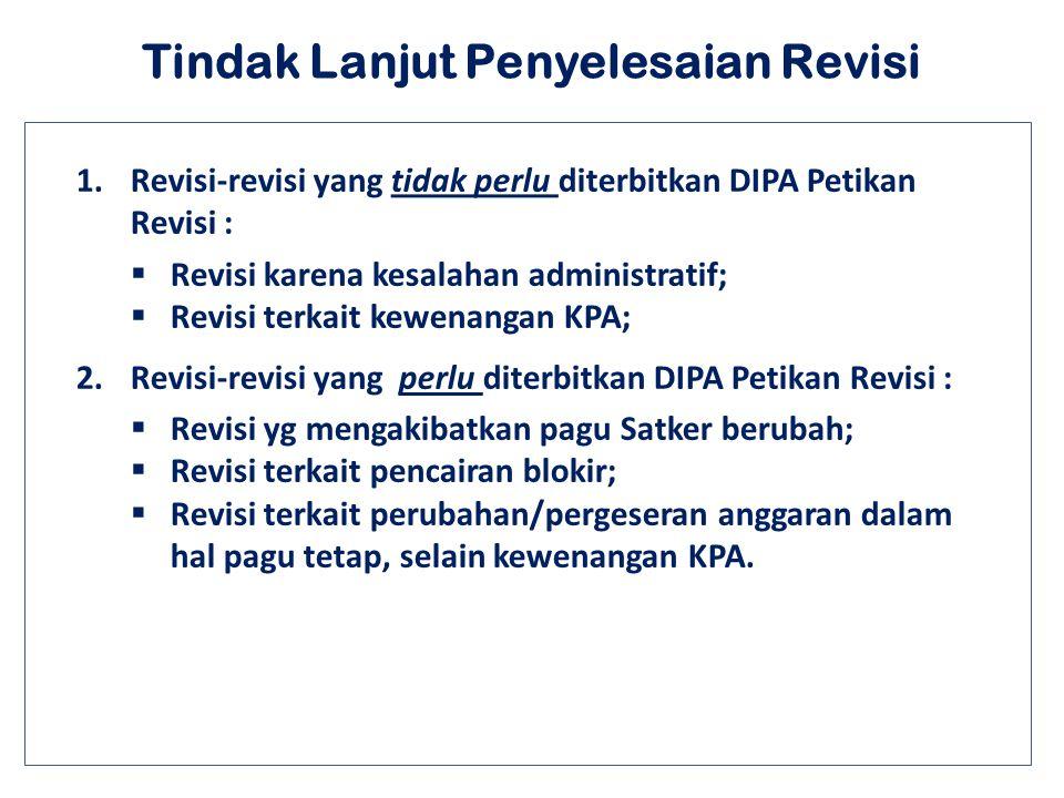 Tindak Lanjut Penyelesaian Revisi