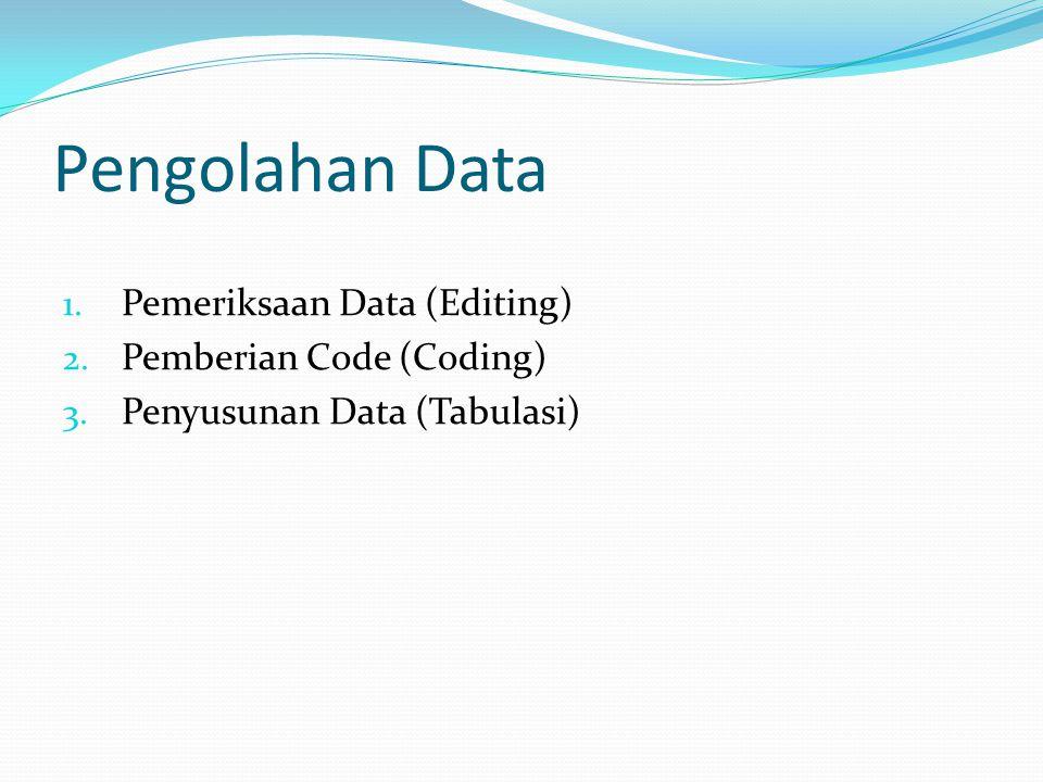 Pengolahan Data Pemeriksaan Data (Editing) Pemberian Code (Coding)