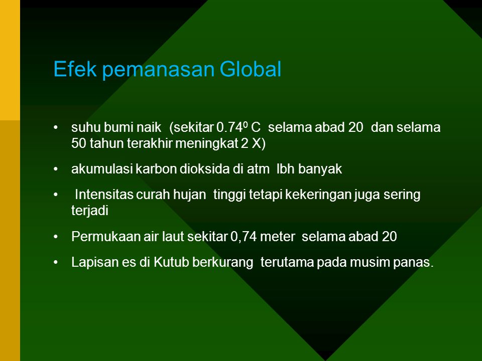 Efek pemanasan Global suhu bumi naik (sekitar 0.740 C selama abad 20 dan selama 50 tahun terakhir meningkat 2 X)