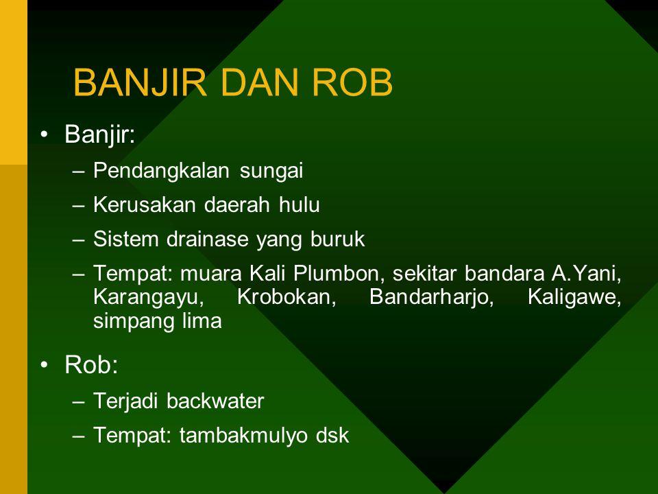BANJIR DAN ROB Banjir: Rob: Pendangkalan sungai Kerusakan daerah hulu