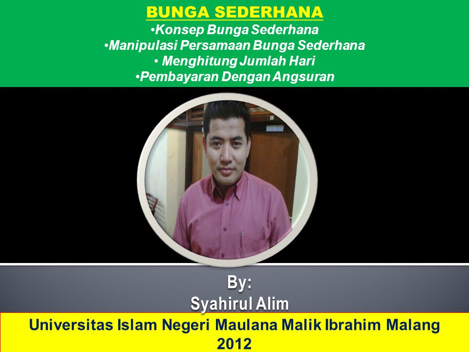 By: Syahirul Alim BUNGA SEDERHANA