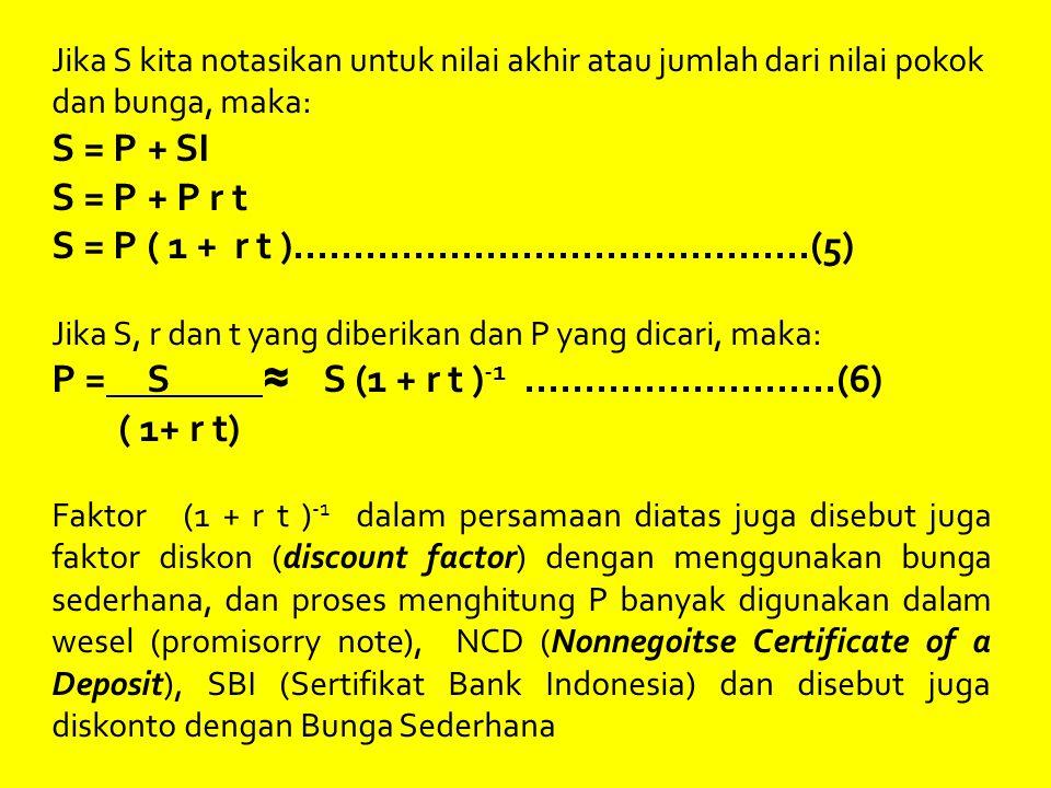 Jika S kita notasikan untuk nilai akhir atau jumlah dari nilai pokok dan bunga, maka: