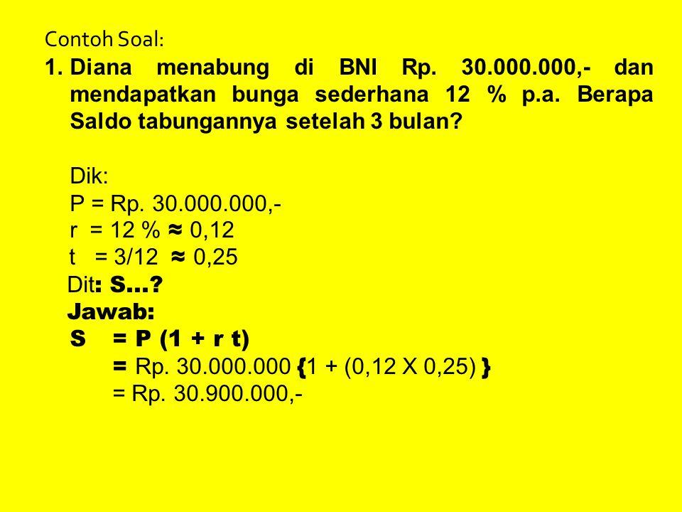 Contoh Soal: Diana menabung di BNI Rp. 30.000.000,- dan mendapatkan bunga sederhana 12 % p.a. Berapa Saldo tabungannya setelah 3 bulan
