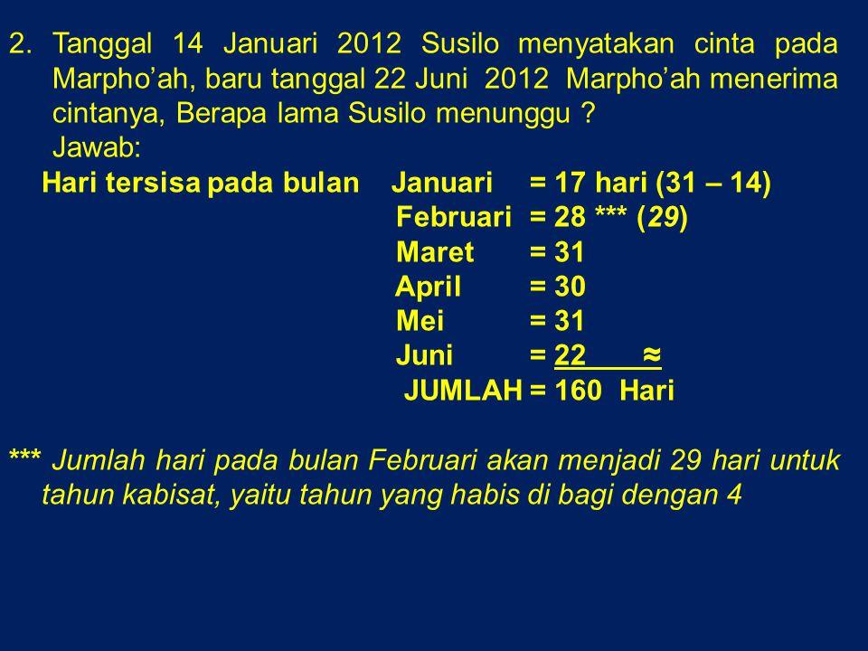 Tanggal 14 Januari 2012 Susilo menyatakan cinta pada Marpho'ah, baru tanggal 22 Juni 2012 Marpho'ah menerima cintanya, Berapa lama Susilo menunggu