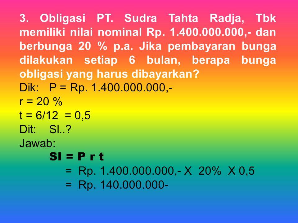 3. Obligasi PT. Sudra Tahta Radja, Tbk memiliki nilai nominal Rp. 1