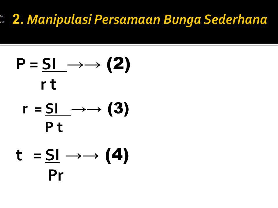 2. Manipulasi Persamaan Bunga Sederhana