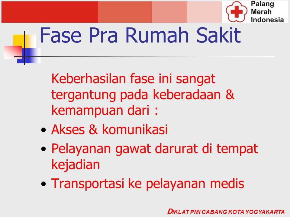Fase Pra Rumah Sakit Keberhasilan fase ini sangat tergantung pada keberadaan & kemampuan dari : Akses & komunikasi.