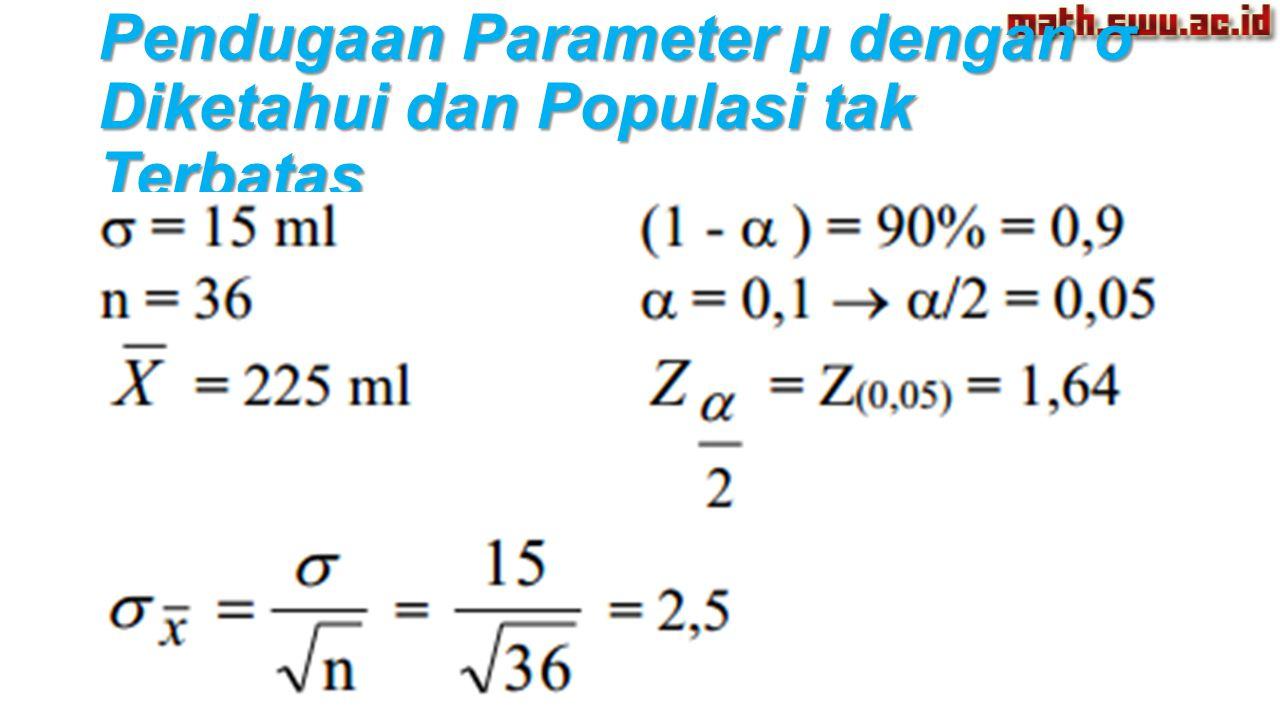 Pendugaan Parameter µ dengan σ Diketahui dan Populasi tak Terbatas