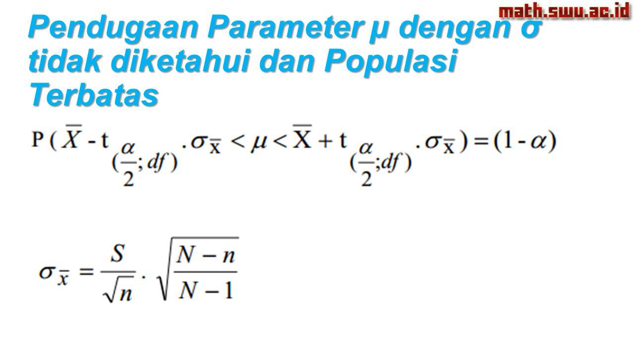 Pendugaan Parameter µ dengan σ tidak diketahui dan Populasi Terbatas