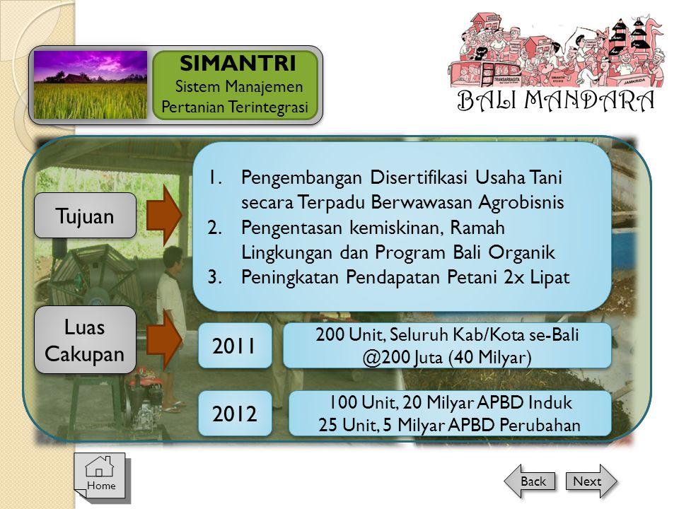 BALI MANDARA SIMANTRI Tujuan Luas Cakupan 2011 2012