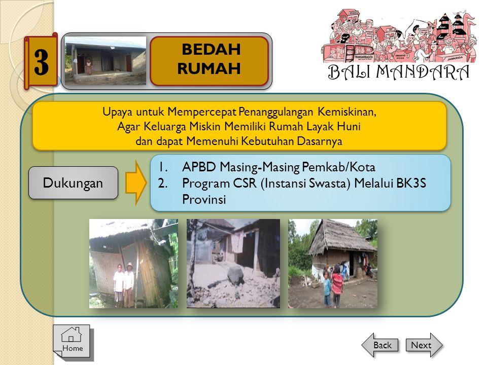 3 BALI MANDARA BEDAH RUMAH Dukungan APBD Masing-Masing Pemkab/Kota
