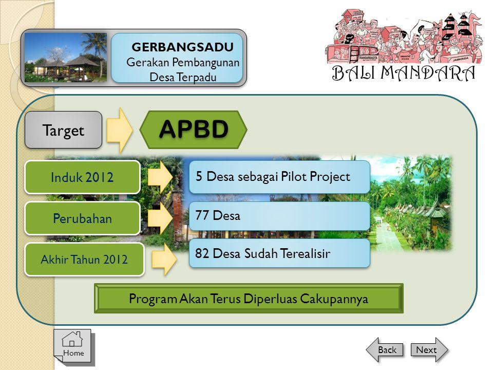 APBD BALI MANDARA Target Induk 2012 5 Desa sebagai Pilot Project