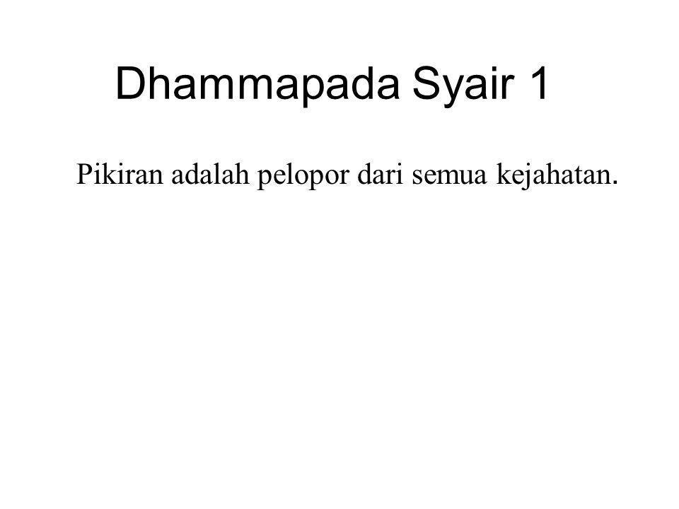 Dhammapada Syair 1 Pikiran adalah pelopor dari semua kejahatan. Mind is chief and evil states are all mind-made.