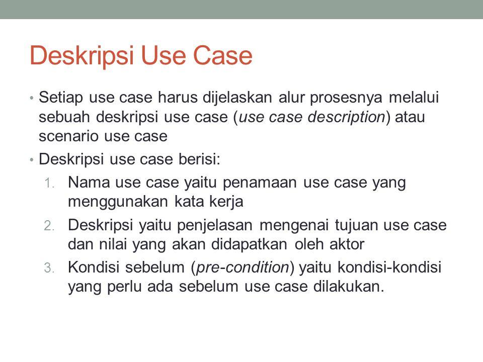 Deskripsi Use Case Setiap use case harus dijelaskan alur prosesnya melalui sebuah deskripsi use case (use case description) atau scenario use case.