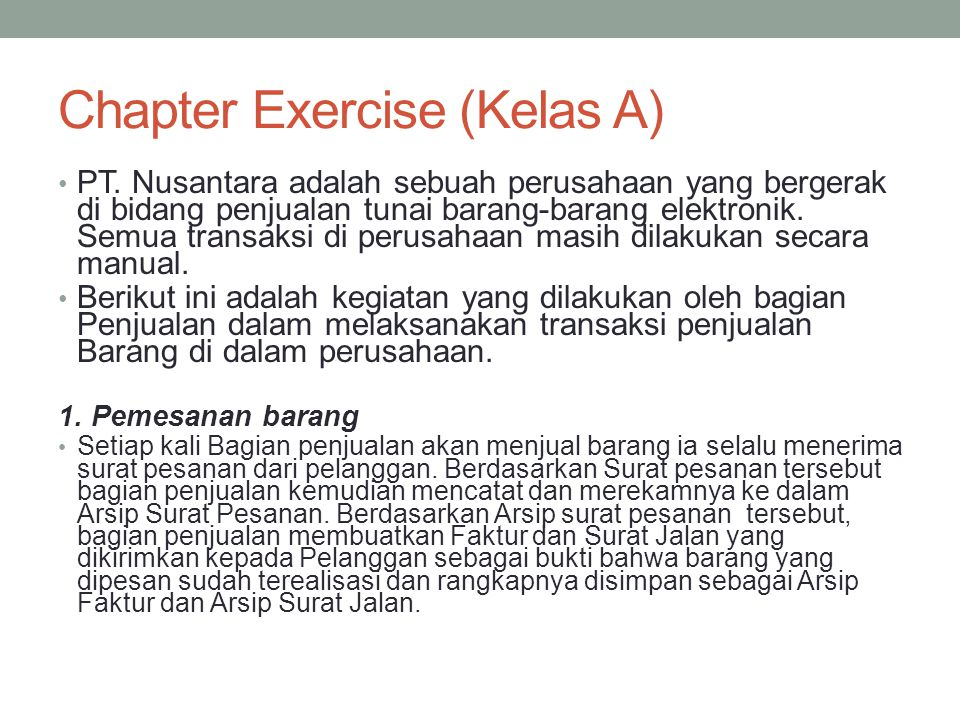 Chapter Exercise (Kelas A)