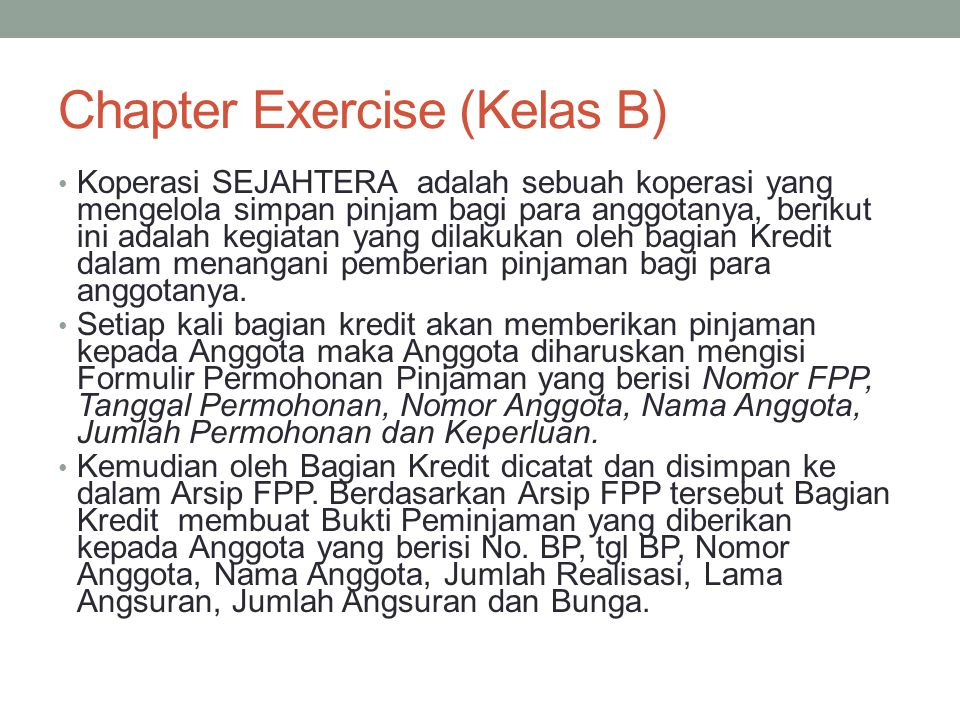 Chapter Exercise (Kelas B)