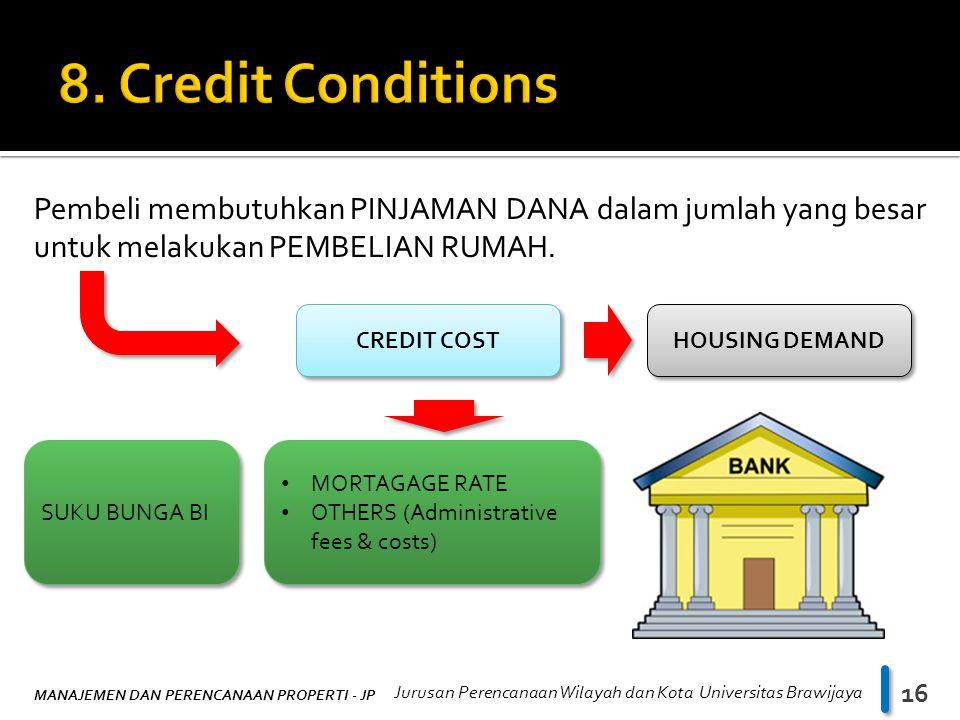 8. Credit Conditions Pembeli membutuhkan PINJAMAN DANA dalam jumlah yang besar untuk melakukan PEMBELIAN RUMAH.