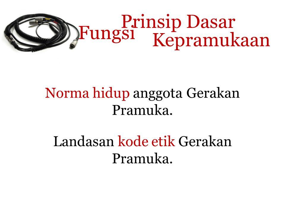 Prinsip Dasar Fungsi Kepramukaan Norma hidup anggota Gerakan Pramuka.