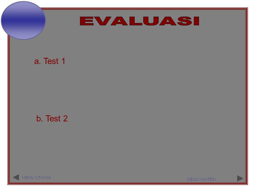 EVALUASI a. Test 1 b. Test 2 MENU UTAMA MENU MATERI