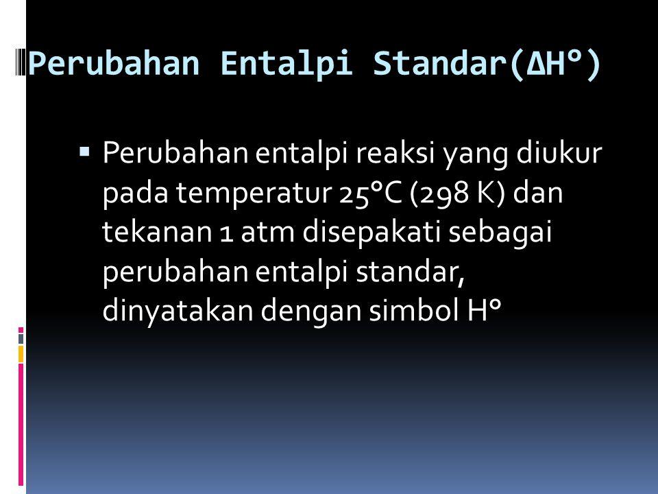 Perubahan Entalpi Standar(∆H°)