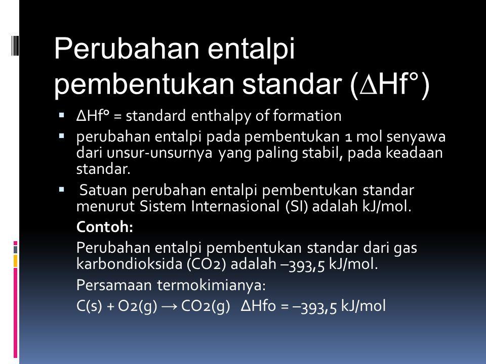 Perubahan entalpi pembentukan standar (∆Hf°)