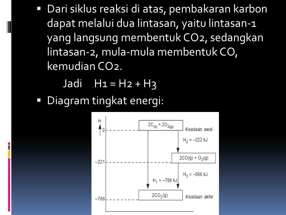 Dari siklus reaksi di atas, pembakaran karbon dapat melalui dua lintasan, yaitu lintasan-1 yang langsung membentuk CO2, sedangkan lintasan-2, mula-mula membentuk CO, kemudian CO2.