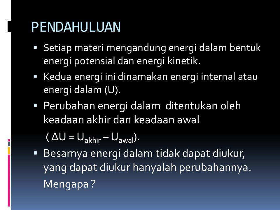 PENDAHULUAN Setiap materi mengandung energi dalam bentuk energi potensial dan energi kinetik.