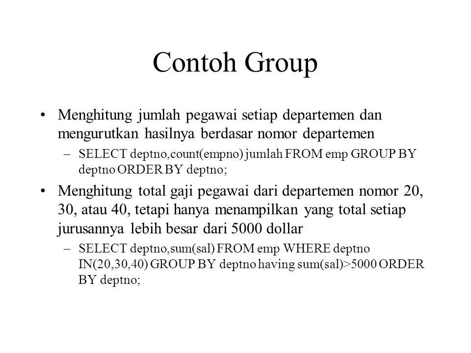 Contoh Group Menghitung jumlah pegawai setiap departemen dan mengurutkan hasilnya berdasar nomor departemen.