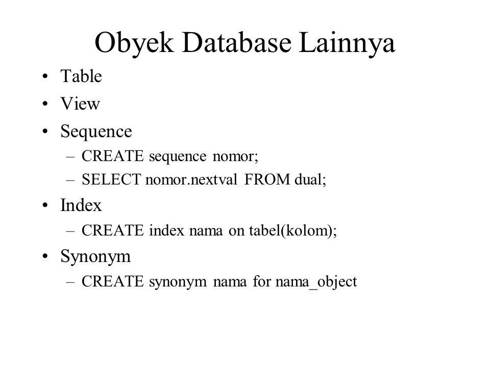 Obyek Database Lainnya