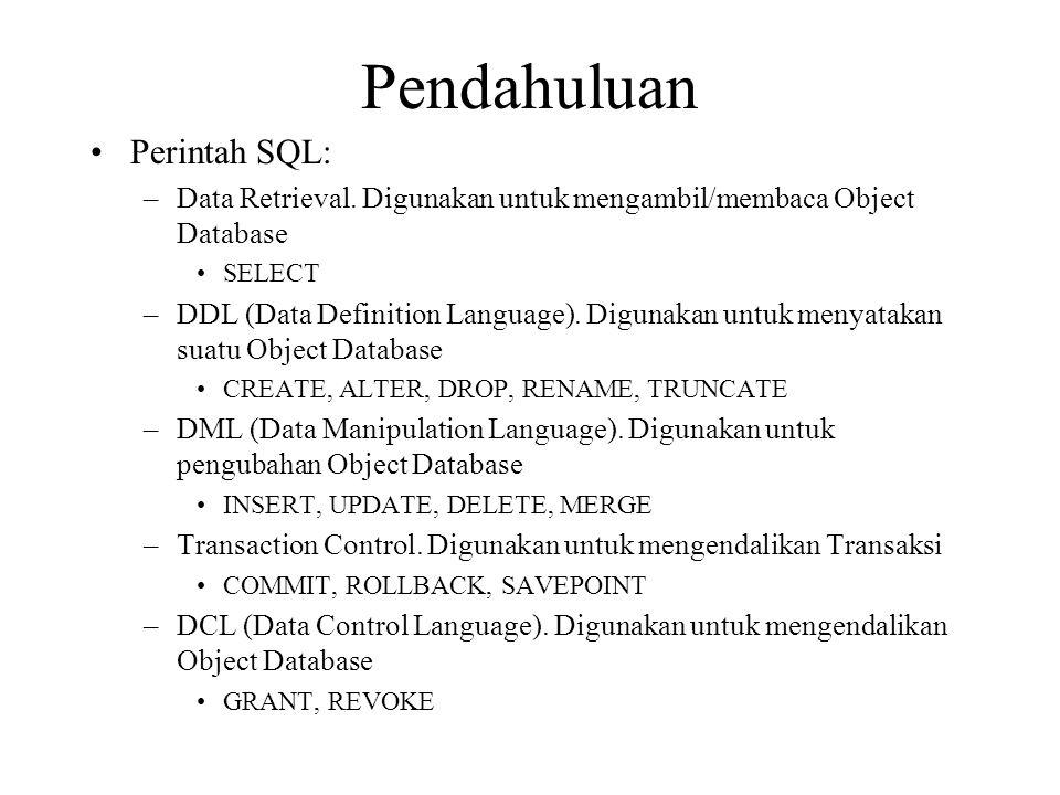 Pendahuluan Perintah SQL: