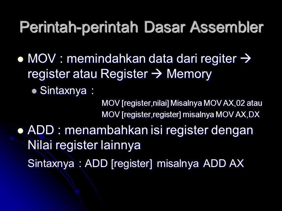 Perintah-perintah Dasar Assembler