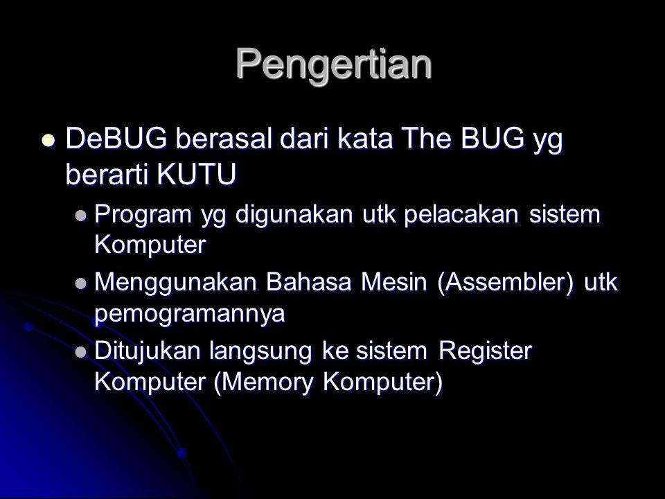Pengertian DeBUG berasal dari kata The BUG yg berarti KUTU