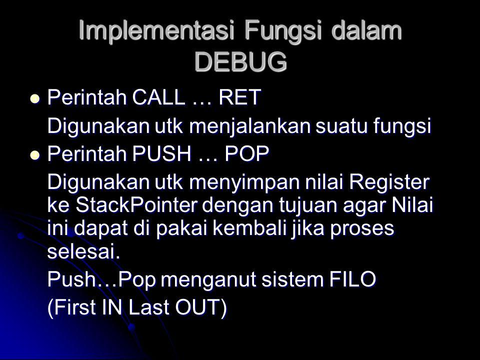 Implementasi Fungsi dalam DEBUG