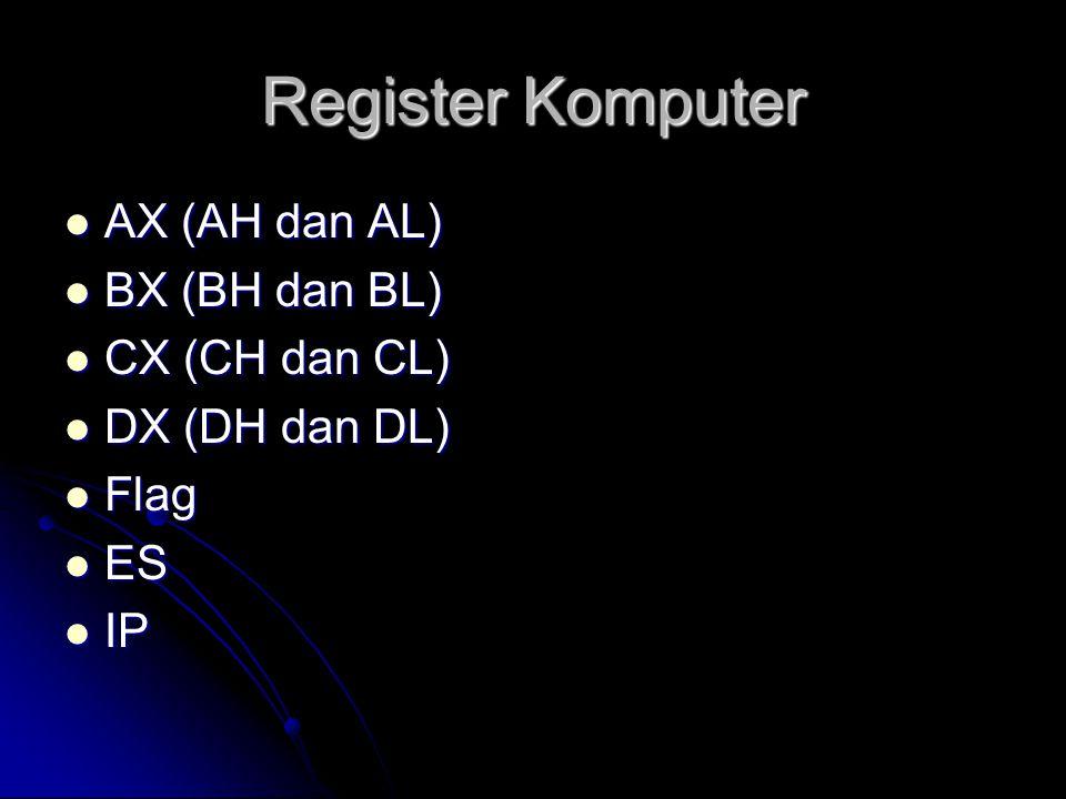 Register Komputer AX (AH dan AL) BX (BH dan BL) CX (CH dan CL)