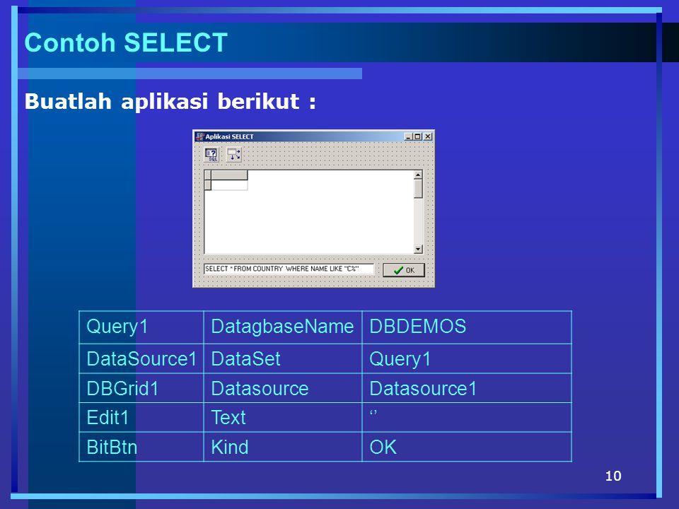 Contoh SELECT Buatlah aplikasi berikut : Query1 DatagbaseName DBDEMOS