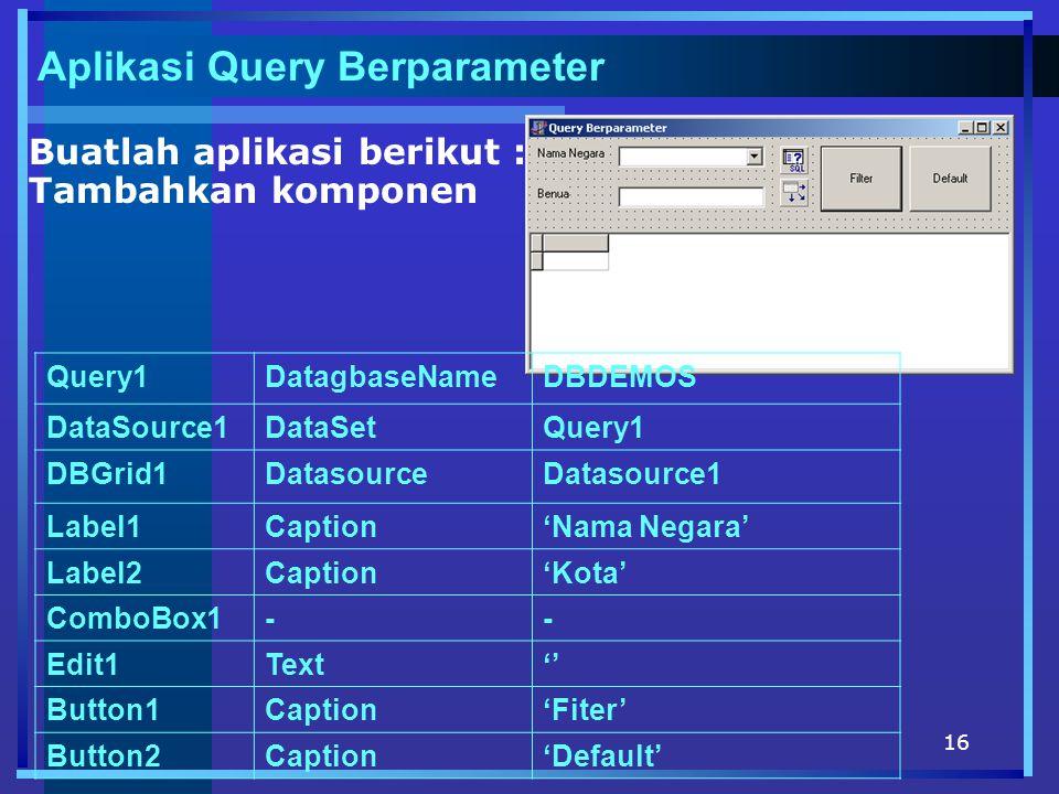 Aplikasi Query Berparameter