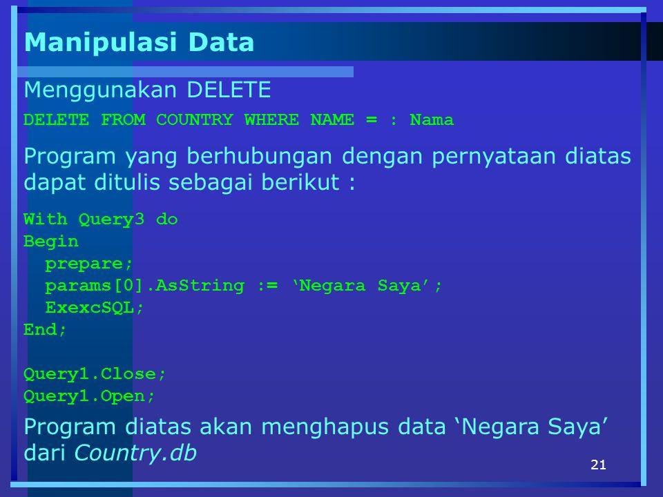 Manipulasi Data Menggunakan DELETE