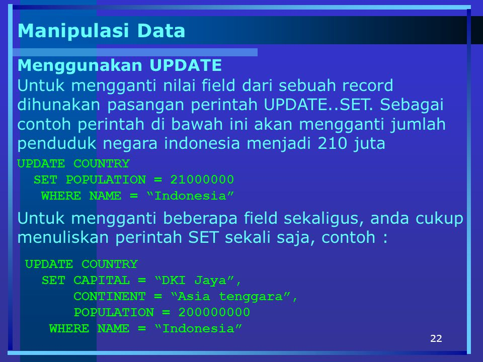 Manipulasi Data Menggunakan UPDATE