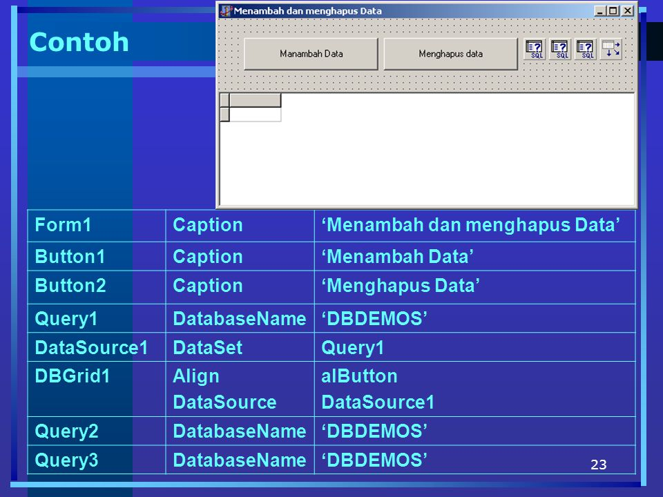 Contoh Form1 Caption 'Menambah dan menghapus Data' Button1
