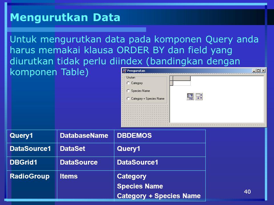 Mengurutkan Data