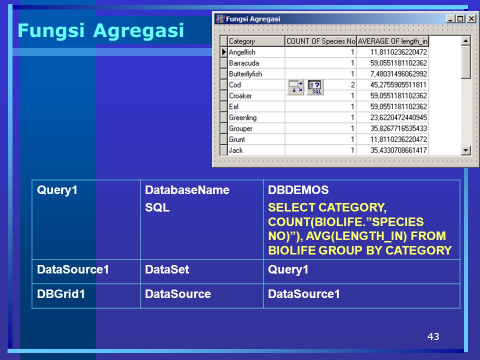 Fungsi Agregasi Query1 DatabaseName SQL DBDEMOS