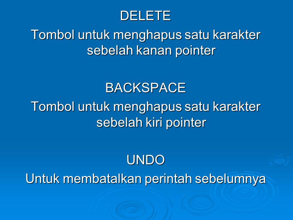 DELETE Tombol untuk menghapus satu karakter sebelah kanan pointer BACKSPACE Tombol untuk menghapus satu karakter sebelah kiri pointer UNDO Untuk membatalkan perintah sebelumnya