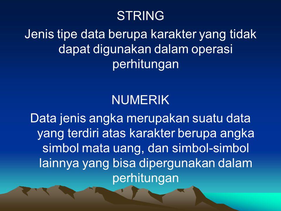 STRING Jenis tipe data berupa karakter yang tidak dapat digunakan dalam operasi perhitungan NUMERIK Data jenis angka merupakan suatu data yang terdiri atas karakter berupa angka simbol mata uang, dan simbol-simbol lainnya yang bisa dipergunakan dalam perhitungan