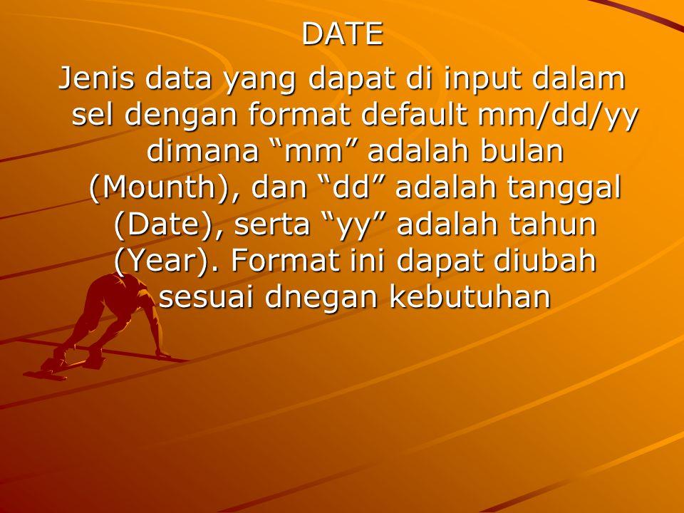 DATE Jenis data yang dapat di input dalam sel dengan format default mm/dd/yy dimana mm adalah bulan (Mounth), dan dd adalah tanggal (Date), serta yy adalah tahun (Year).