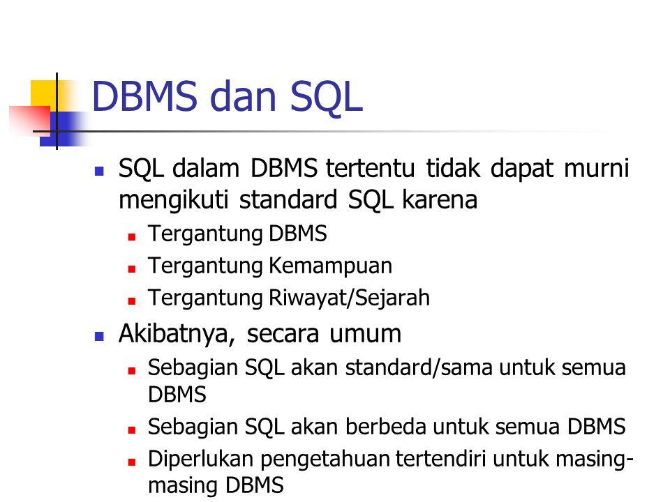 DBMS dan SQL SQL dalam DBMS tertentu tidak dapat murni mengikuti standard SQL karena. Tergantung DBMS.