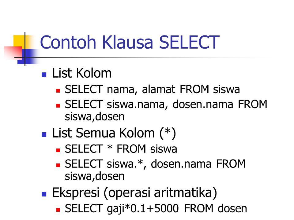 Contoh Klausa SELECT List Kolom List Semua Kolom (*)